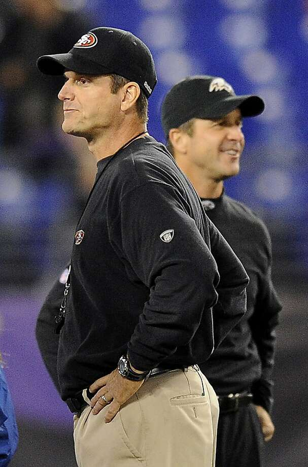 When Jim Harbaugh (left) took the 49ers to Baltimore for their Thanksgiving matchup with brother John's team, the Ravens prevailed 16-6. Photo: Nick Wass, Associated Press