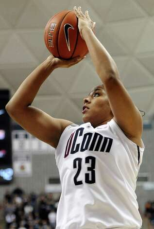 Connecticut's Kaleena Mosqueda-Lewis shoots during the second half of an NCAA college basketball game against Duke in Storrs, Conn., Monday, Jan. 21, 2013. Mosqueda-Lewis was top scorer for Connecticut with 21 points. Connecticut won 79-49. (AP Photo/Jessica Hill) Photo: Jessica Hill, Associated Press / FR125654 AP