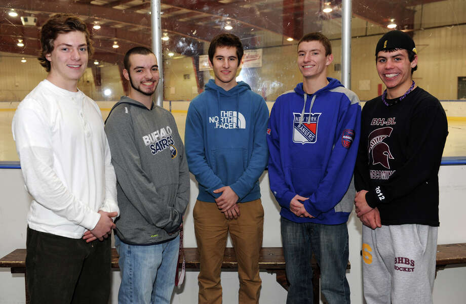 From left, Burnt Hills Ballston Spa varsity hockey team members Clark Grabb, Nick Hart, Kyle Andalina, Chris de la Rocha and Nick Van Liew before practice at the Schenectady County Recreational Facility on Friday Jan. 18, 2013, in Scotia, N.Y.  The team will hold its annual Brave Will Foundation Hockey Game on Friday, Jan. 25. (Lori Van Buren / Times Union) Photo: Lori Van Buren