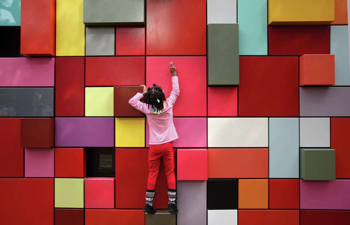 """Discovery Green's """"Synchronicity of Color,"""" by Margo Sawyer, has become one of Houston's most recognizable artworks."""