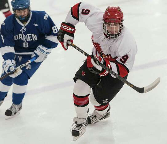 Greenwich high school's Alex Bastone during a boys ice hockey game against Darien high school played at Dorothy Hamill Rink, Greenwich CT on Monday January 21st, 2013. Photo: Mark Conrad / Stamford Advocate Freelance