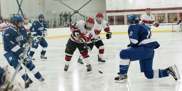 Darien high school vs. Greenwich high school in a boys ice hockey game played at Dorothy Hamill Rink, Greenwich CT on Monday January 21st, 2013. Photo: Mark Conrad / Stamford Advocate Freelance