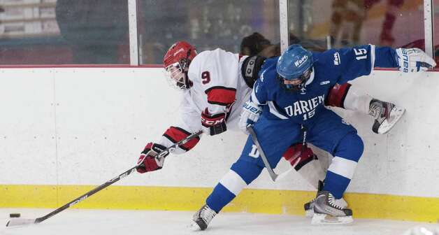 Darien high school vs. Greenwich high school in a boys ice hockey game played at Dorothy Hamill Rink,Greenwich CT on Monday January 21st, 2013. Photo: Mark Conrad / Stamford Advocate Freelance