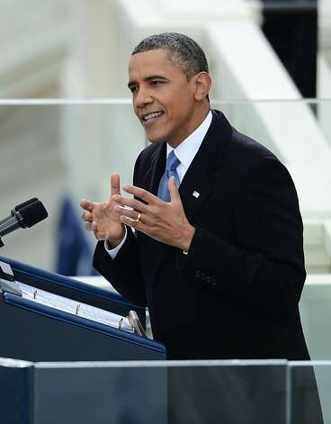 US President Barack Obama gives his inauguration speech at the US Capitol on January 21, 2013 in Washington, DC.  AFP PHOTO/Emmanuel DunandEMMANUEL DUNAND/AFP/Getty Images Photo: Emmanuel Dunand, AFP/Getty Images