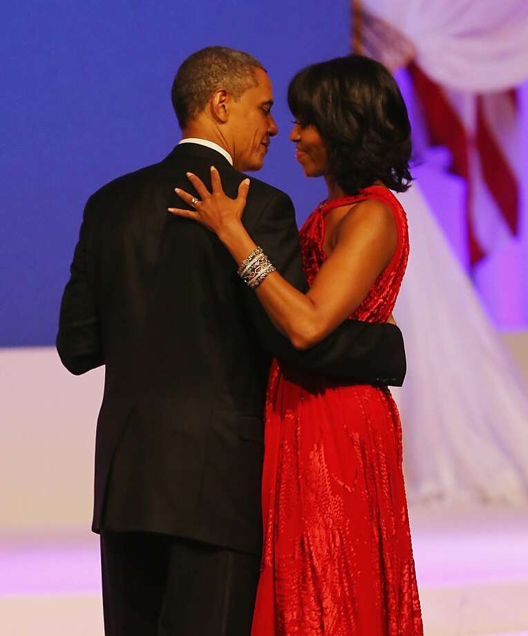 WASHINGTON, DC - JANUARY 21:  U.S. President Barack Obama and first lady Michelle Obama dance during the Commander-In-Chief's Inaugural Ball January 21, 2013 in Washington, DC. Obama was sworn in today for his second term in a public ceremonial swearing in..  (Photo by Joe Raedle/Getty Images) Photo: Joe Raedle, Getty Images
