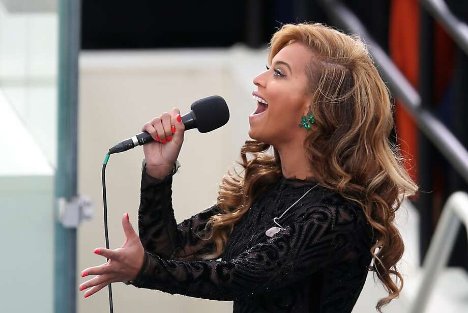 WASHINGTON, DC - JANUARY 21:  Singer Beyonce performs the National Anthem during the public ceremonial inauguration for U.S. President Barack Obama on the West Front of the U.S. Capitol January 21, 2013 in Washington, DC.   Barack Obama was re-elected for a second term as President of the United States.  (Photo by Mark Wilson/Getty Images) *** BESTPIX *** Photo: Mark Wilson, Getty Images