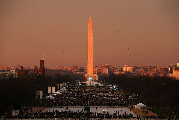 WASHINGTON, DC - JANUARY 21:  Birds fly over the  mall in the early morning in front of the Washington Monument before the presidential inauguration on the West Front of the U.S. Capitol January 21, 2013 in Washington, DC.  Barack Obama was re-elected for a second term as President of the United States.  (Photo by Justin Sullivan/Getty Images) *** BESTPIX *** Photo: Justin Sullivan, Getty Images