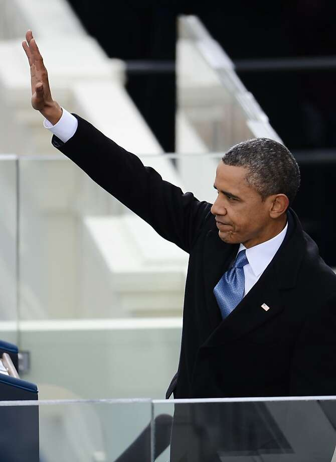 US President Barack Obama waves after finishing his speech during the 57th Presidential Inauguration ceremonial swearing-in at the US Capitol on January 21, 2013 in Washington, DC. AFP PHOTO/EMMANUEL DUNANDEMMANUEL DUNAND/AFP/Getty Images Photo: Emmanuel Dunand, AFP/Getty Images