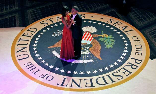 President Barack Obama and first lady Michelle Obama dance at the Commander-in-Chief's Inaugural Ball. Photo: AP