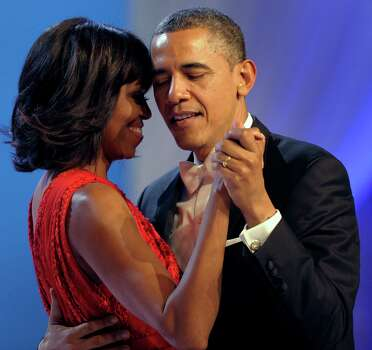 President Barack Obama dances with first lady Michelle Obama during The Inaugural Ball. Photo: AP