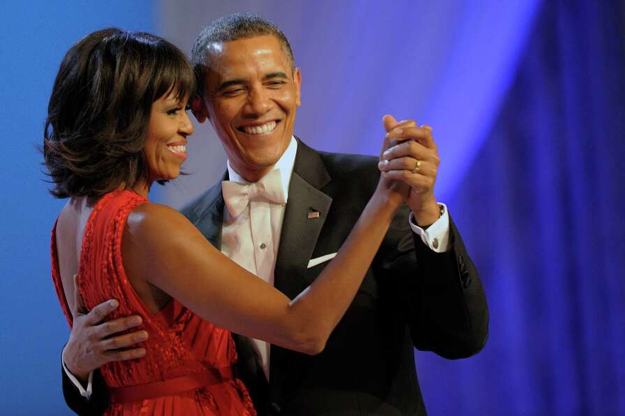 President Barack Obama dances with first lady Michelle Obama during The Inaugural Ball.