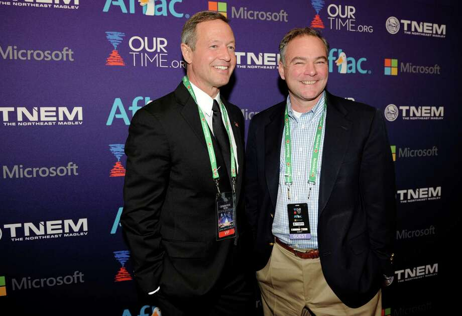 Maryland Gov. Martin O'Malley, left, and Sen. Tim Kaine (D-Va.), right, arrive at the OurTime.org Inaugural Youth Ball Generation Now Party. Photo: Nick Wass/Invision/AP