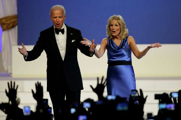 Vice President Joe Biden and Jill Biden react to the crowd at The Inaugural Ball. Photo: AP
