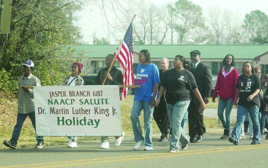The annual Martin Luther King Jr. march through the streets of Jasper Monday, Jan. 21. Photo: Jimmy Galvan