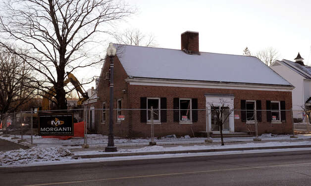 Demolition of the old Town Hall in Bethel began early Tuesday morning, January 22, 2013. Photo: Carol Kaliff / The News-Times