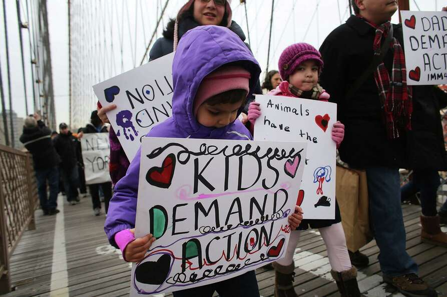 NEW YORK, NY - JANUARY 21:  Participants with One Million Moms for Gun Control, a gun control group