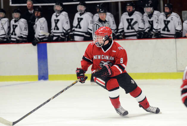 New Canaan's Peter Reinhardt (9) on the ice during the boys hockey game against Xavier at the Freeman Athletic Center in Middletown on Monday, Jan. 21, 2013. Photo: Amy Mortensen / Connecticut Post Freelance