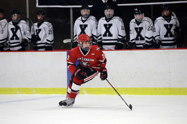 New Canaan's Patrick Hompe (22) on the ice during the boys hockey game against Xavier at the Freeman Athletic Center in Middletown on Monday, Jan. 21, 2013. Photo: Amy Mortensen / Connecticut Post Freelance