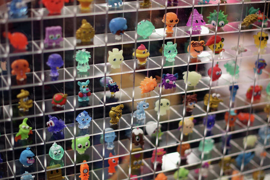 A display of Moshi Monsters characters are displayed  during the 2013 London Toy Fair at Olympia Exh
