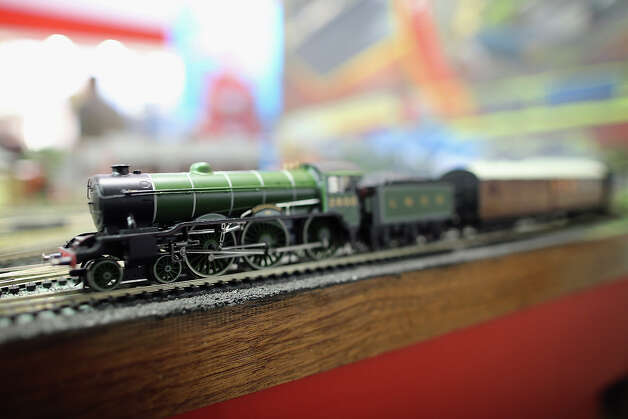A Hornby model railway kit is displayed during the 2013 London Toy Fair at Olympia Exhibition Centre on January 22, 2013 in London, England. The annual fair which is organized by the British Toy and Hobby Association, brings together toy manufacturers and retailers from around the world. Photo: Dan Kitwood, Getty Images / 2013 Getty Images