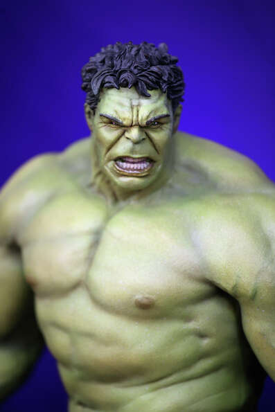 An Incredible Hulk toy is displayed on a trade stand during the 2013 London Toy Fair at Olympia Exhi