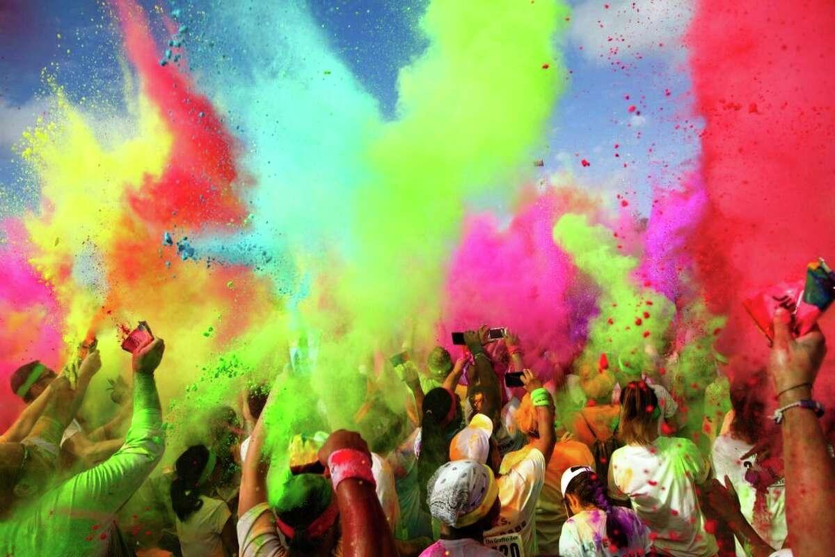 Colored powder showers at Houston's Graffiti Run. Courtesy photo