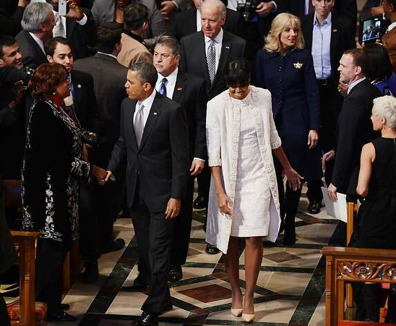 (Front Left to right) President Barack Obama, First Lady Michelle Obama, Dr. Jill Biden and  Vice President Biden attend a prayer service at Washington National Cathedral on January 22, 2013 in Washington, DC. Photo: Saul Loeb, AFP/Getty Images