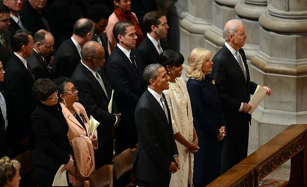 (Front Left to right) President Barack Obama, First Lady Michelle Obama, Vice President Biden and his wife Dr. Jill Biden attend a prayer service at Washington National Cathedral on January 22, 2013 in Washington, DC. Photo: Saul Loeb, AFP/Getty Images