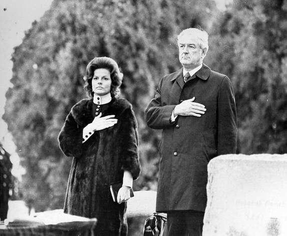 Former Texas governor John Connally and singer Anita Bryant at the funeral of President Lyndon Johnson in January 1973. Photo: Express-News File Photo