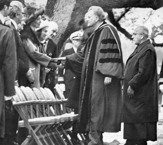 The Rev. Billy Graham greets mourners during the services of President Lyndon Johnson on January 25, 1973. Photo: Express-News File Photo