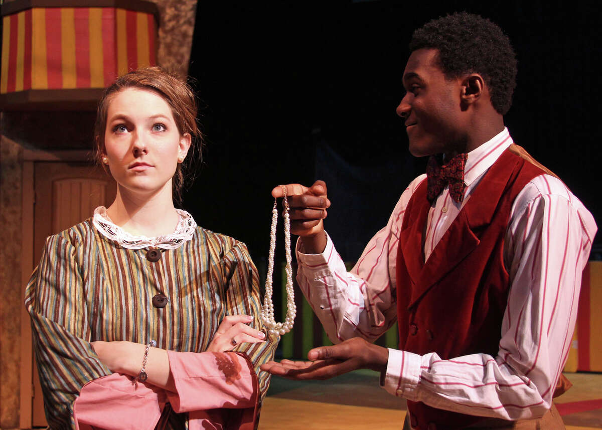 """Caitlyn Jardon in the role of Charity, Barnum's wife, rehearses a scene in """"Barnum"""" with Neal Whetstone who plays P.T. Barnum in the musical."""