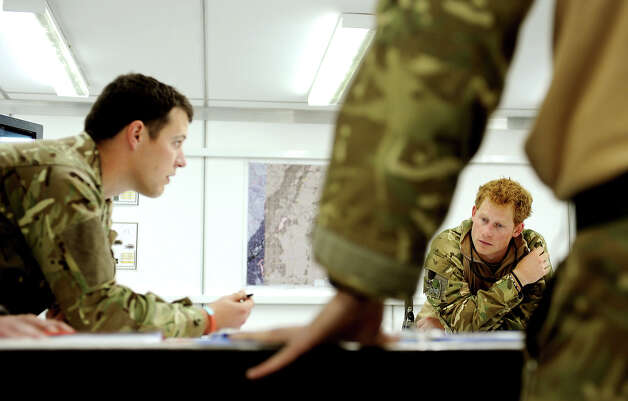 Prince Harry, attends a mission briefing at the British controlled flight-line at Camp Bastion on October 31, 2012 in Afghanistan. Prince Harry has served as an Apache Helicopter Pilot/Gunner with 662 Sqd Army Air Corps, from September 2012 for four months until January 2013. Photo: WPA Pool, Getty Images / 2013 Getty Images