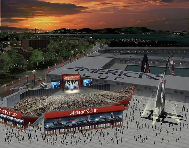 A rendering shows the America's Cup Pavilion, a 9,000-seat temporary venue. Photo: Courtesy Live Nation