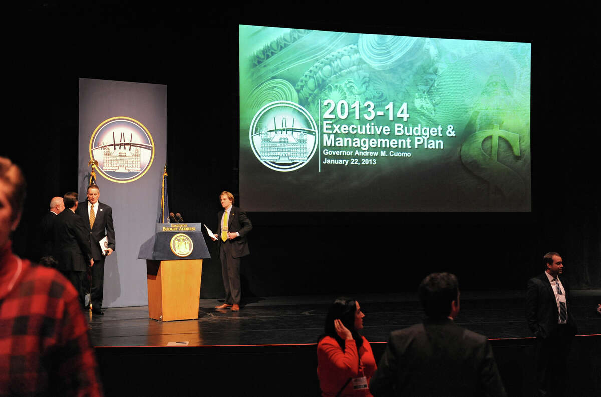 The stage and podium is ready for Governor Andrew Cuomo to deliver his budget proposal for fiscal year 2013-14 in the Hart Theater in The Egg on Tuesday Jan. 22, 2013 in Albany, N.Y. (Lori Van Buren / Times Union)