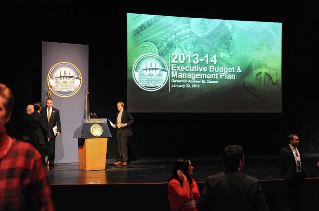 The stage and podium is ready for Governor Andrew Cuomo to deliver his budget proposal for fiscal year 2013-14 in the Hart Theater in The Egg on Tuesday Jan. 22, 2013 in Albany, N.Y.  (Lori Van Buren / Times Union) Photo: Lori Van Buren