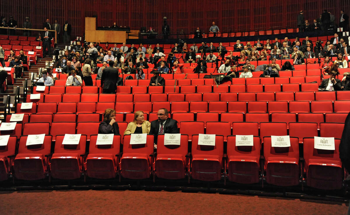 People start to take their seats before Governor Andrew Cuomo delivers his budget proposal for fiscal year 2013-14 in the Hart Theater in The Egg on Tuesday Jan. 22, 2013 in Albany, N.Y. (Lori Van Buren / Times Union)