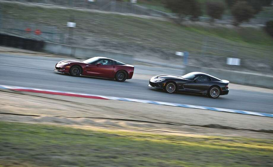Car & Driver road tests the 2013 SRT Viper GTS vs. 2013 Chevrolet Corvette ZR1 at Laguna Seca. Photo: Charlie Magee