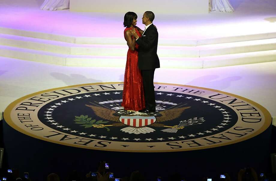 First dance of the second term:President Obama and the first lady cut a rug on the presidential seal during the Commander-In-Chief Inaugural Ball at the Washington Convention Center. Photo: Evan Vucci, Associated Press