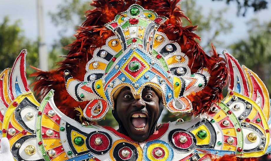 Beyonce lip-synched the national anthem?! A carnival dancer performs in the Martin Luther King Day Parade in Miami. Photo: Alan Diaz, Associated Press