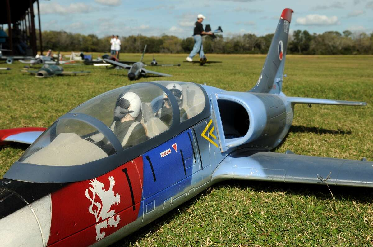 Radio-controlled airplanes wait to be flown at the Northwest Houston Radio Control Club field in Cypress.