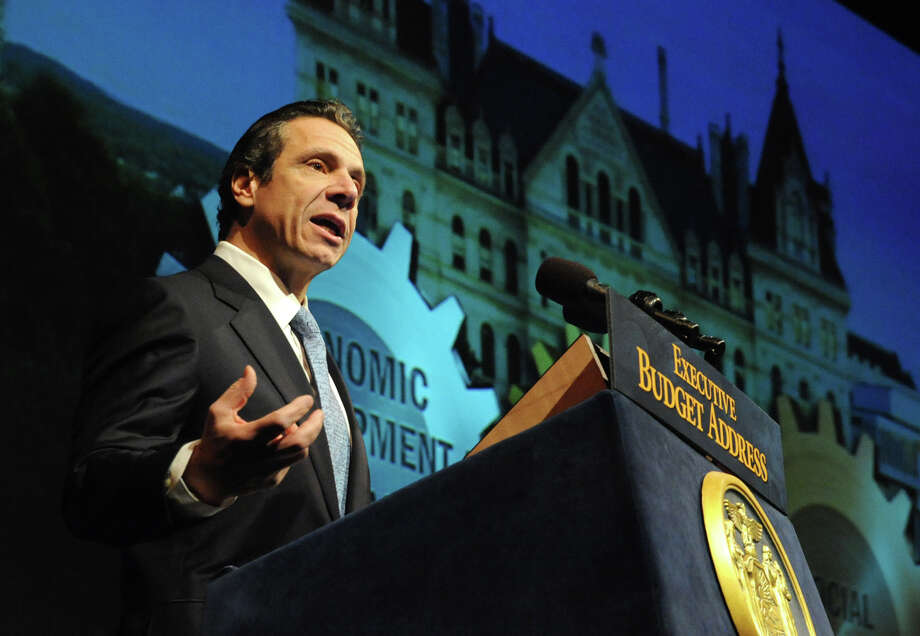 Governor Andrew Cuomo delivers his budget proposal for fiscal year 2013-14 in the Hart Theater in The Egg on Tuesday Jan. 22, 2013 in Albany, N.Y.  (Lori Van Buren / Times Union) Photo: Lori Van Buren