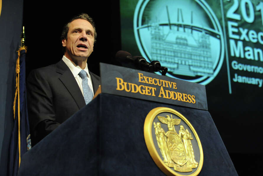 Governor Andrew Cuomo delivers his budget proposal for fiscal year 2013-14 in the Hart Theater in Th
