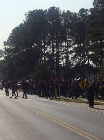 The scene around Lone Star College, the scene of a shooting Tuesday, Jan. 22, 2013, north of Houston. Photo: Santi Carmona / Houston Fire Department (via.me/Twitter)