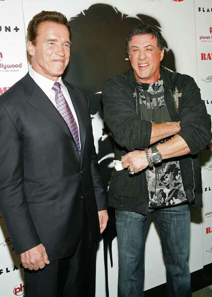 Arnold Schwarzenegger and Sylvester Stallone, in what we can only assume is an attempt to prove that