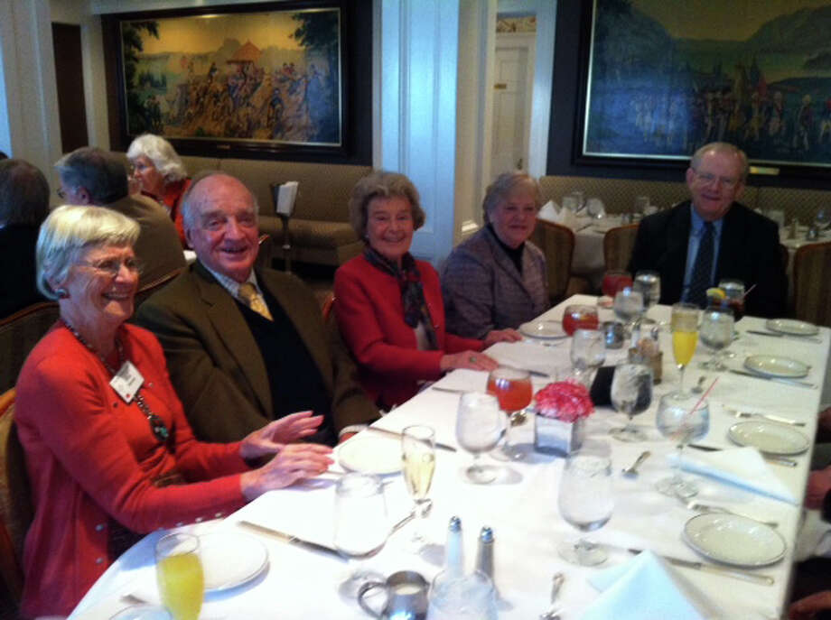 First Presbyterian Church of New Canaan Members enjoy a fellowship brunch. From left, Emily Nissley, George Post, Jeanne Hart, Brooke Manning-Hinds and Spencer Hinds. Photo: Contributed Photo