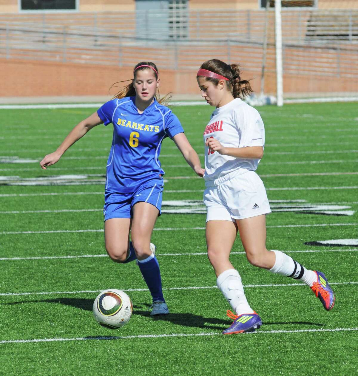 Klein 2013 sophomore Katie Neary (6) was a key contributor on the 2012 Lady Bearkats playoff team. Klein girls soccer fell to Tomball 2-1 during the Katy I-10 Shootout on 1-18-13 at Rhodes Stadium, and it was the Lady Bearkats' only loss during a 4-1-2 start to the 2013 season.