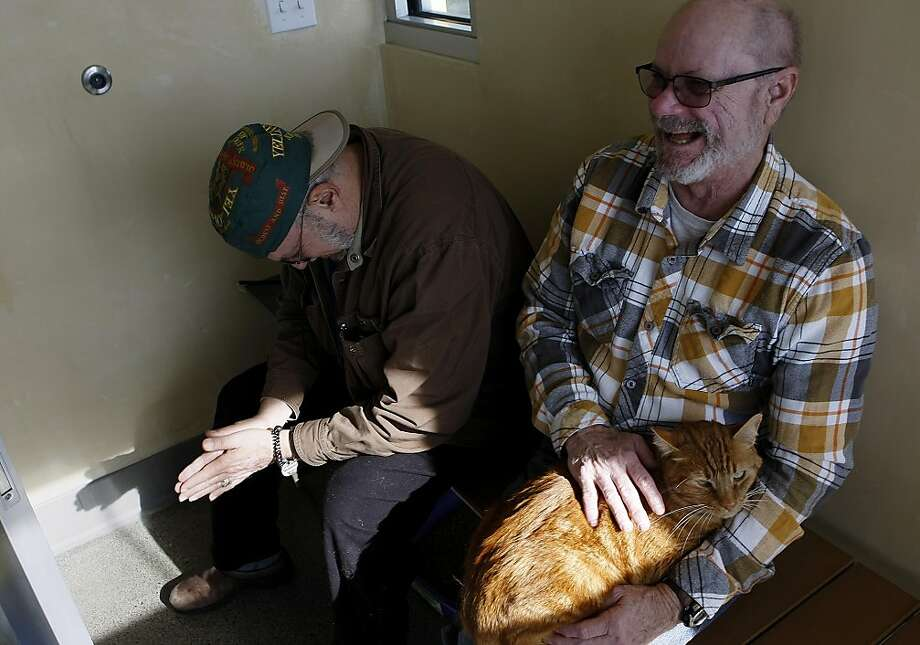 Roozbeh Chubak, of Berkeley, has a laugh with friend and fellow cat whisperer, John Popek, of Walnut Creek, as he pets a cat named Gobi at the recently completed Dona Spring Animal Shelter on January 22, 2013 in Berkeley, Calif. The new shelter was the life's work of City Councilwoman Dona Spring, who died a few years ago. Photo: Sean Havey, The Chronicle