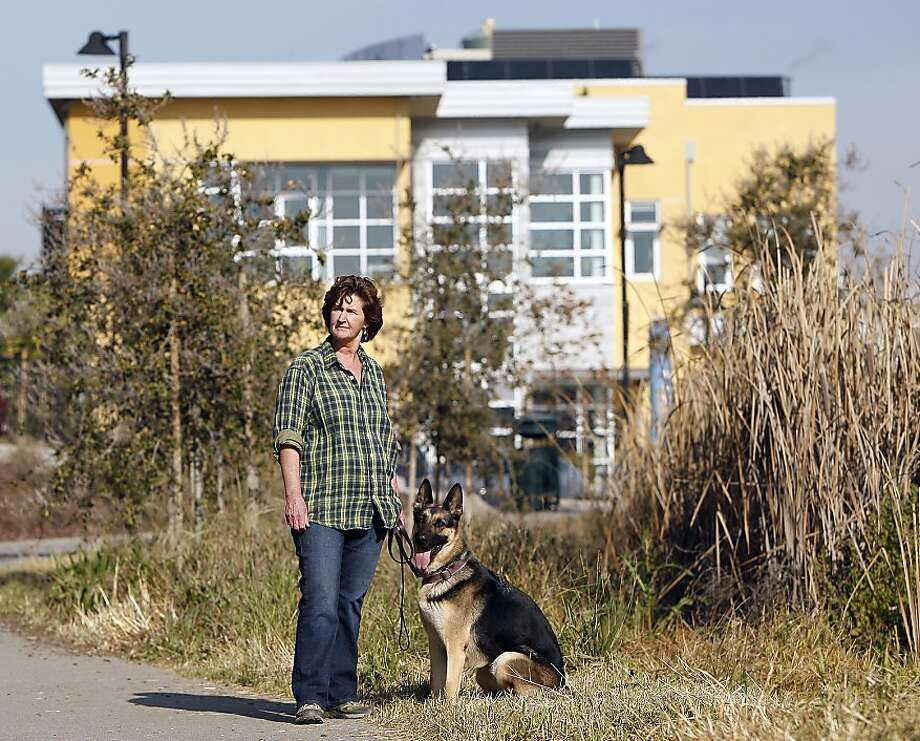 Kate O'Connor, the director of the new Dona Spring Animal Shelter, takes Greta, a one-year old German Shepard, for a walk at Aquatic Park, which adjoins the new facility on January 22, 2013 in Berkeley, Calif. The new shelter was the life's work of City Councilwoman Dona Spring, who died a few years ago. Photo: Sean Havey, The Chronicle