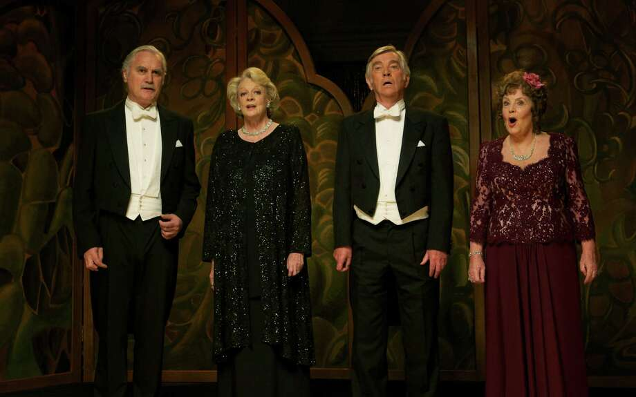 "This film image released by The Weinstein Company shows, from left, Billy Connolly, Maggie Smith, Tom Courtenay and Pauline Collins in a scene from ""Quartet."" (AP Photo/The Weinstein Company, Kerry Brown) Photo: Kerry Brown, Associated Press / The Weinstein Company"