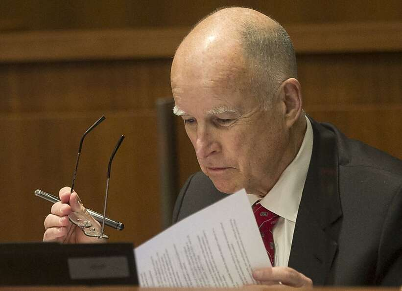 California Gov. Jerry Brown appears at the California State University Board of Trustees meeting for